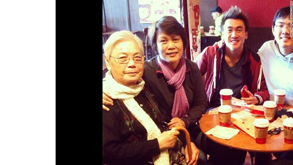 "Christine Au-Yeung, right, of San Francisco always meets her family for coffee on Thanksgiving morning and Thursday was no exception. ""This year, I'm especially thankful for how close my family and I have grown, and the fact that they're always there for me."""