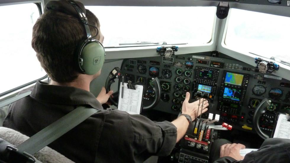 Captain Erik Bengtsson flies Polar 6 on a test flight over Bremerhaven before deployment to Greenland.