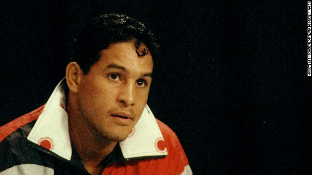 "Famed Puerto Rican boxer Hector ""Macho"" Camacho, pictured in 1993, has been declared clinically ""brain dead."" A gunman shot him in the face on Tuesday, November 20, in front of a bar in his hometown of Bayamon, Puerto Rico."