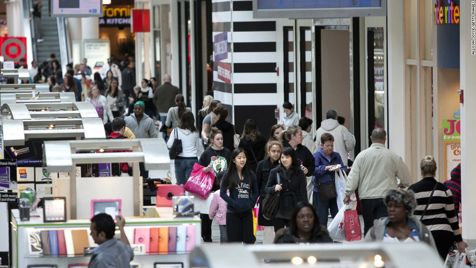 Shoppers take advantage of Black Friday sales at the South Shore Plaza in Braintree, Massachusetts.