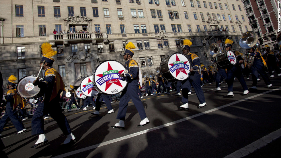 The band from North Carolina Agricultural and Technical State University makes its way through the streets of Manhattan during the parade.