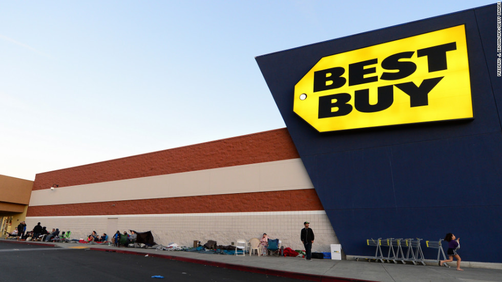 Black Friday shoppers line up outside a Best Buy store in Montebello, California.
