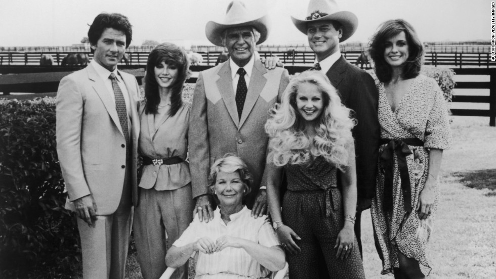 "The ""Dallas"" cast included Patrick Duffy, left, Victoria Principal, Jim Davis, Charlene Tilton, Larry Hagman, Linda Gray and Barbara Bel Geddes."