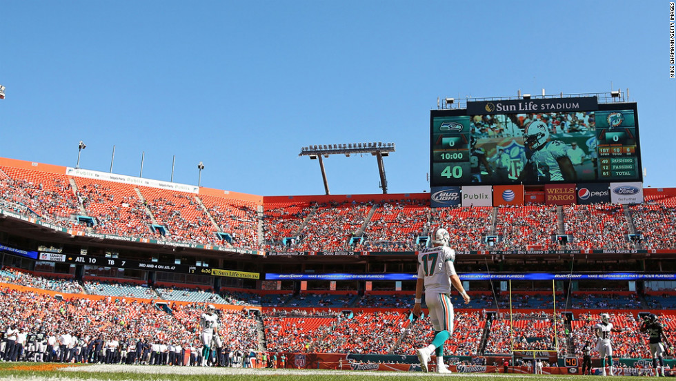 Ryan Tannehill of the Dolphins walks back to the huddle during their game against the Seahawks on Sunday.