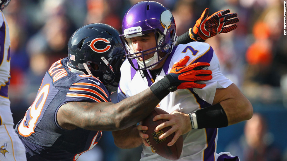 Christian Ponder of the Vikings is sacked by Henry Melton of the Bears on Sunday.