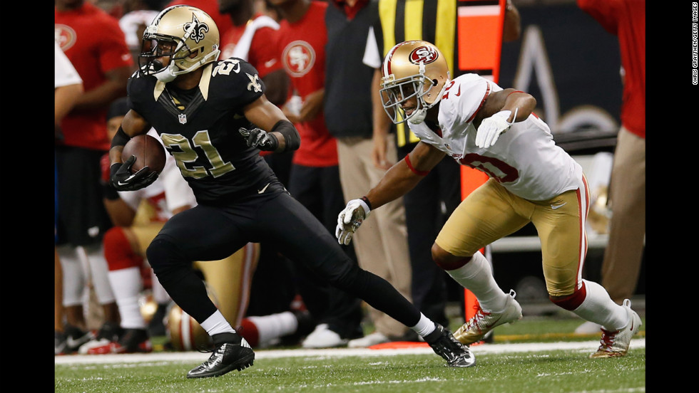 Patrick Robinson of the Saints intercepts a ball intended for Kyle Williams of the 49ers on Sunday.