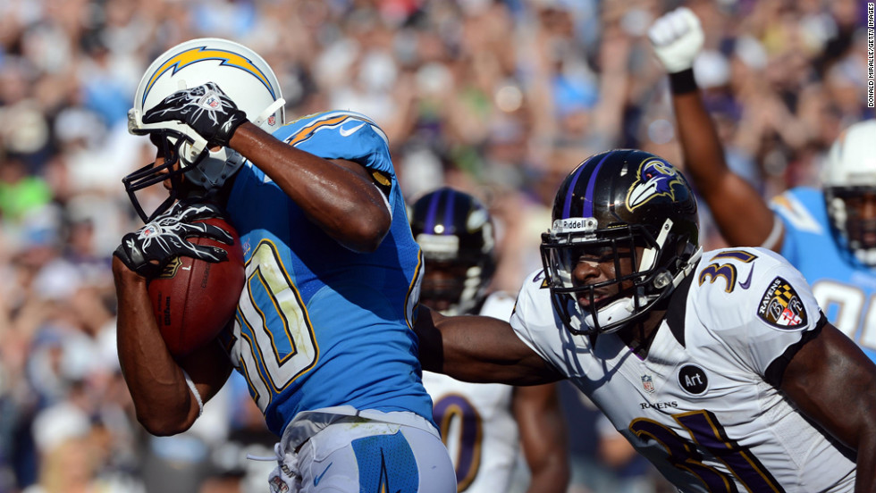 Wide receiver Malcom Floyd of the San Diego Chargers scores a touchdown against Baltimore Ravens on Sunday at Qualcomm Stadium in San Diego.