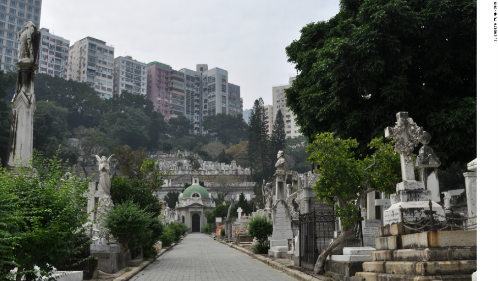 Apartment buildings in Happy Valley overlook the Hong Kong Cemetery.