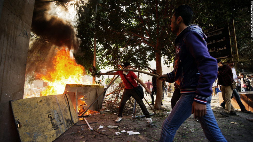 Protesters clash with Egyptian police at Simon Bolivar Square on Sunday, November 25, in Cairo. Egypt's powerful Muslim Brotherhood called nationwide demonstrations in support of Islamist President Mohamed Morsy in his showdown with the judges over the path to a new constitution.