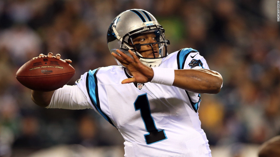 Cam Newton throws a pass during the first quarter against the Philadelphia Eagles on Monday.