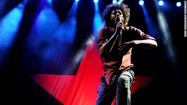 Zack de la Rocha, seen here in 2011, can be heard on the remastered reissue of Rage Against the Machine's 1992 debut album.