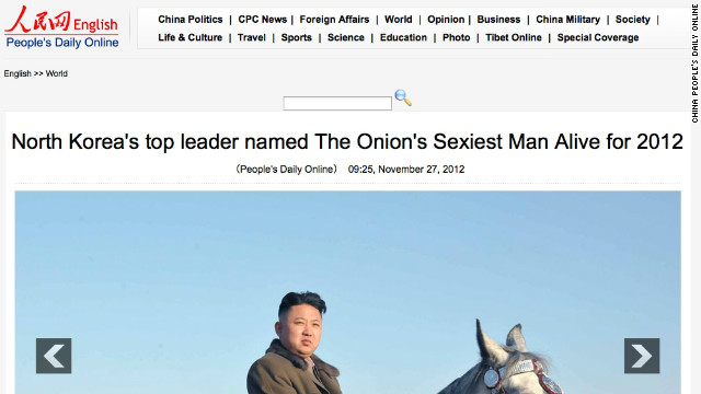 "A Chinese state-run site was fooled Tuesday by a satirical story that declared North Korea's Kim Jong Un the ""sexiest man alive."""