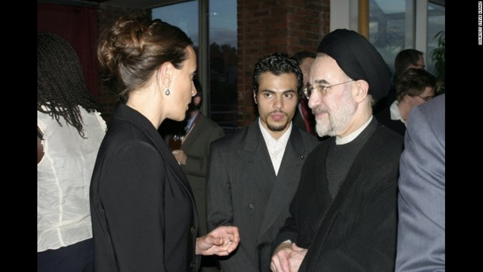 Paula Broadwell attends a Harvard Kennedy School student event in April 2008 with former Iranian president Mohammad Khatami.  Broadwell was a graduate student at Harvard, which is where she first met former CIA Director David Petraeus.
