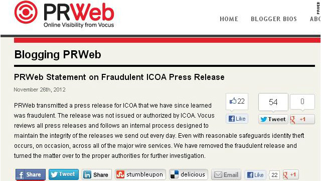 "PR Web issued a retraction of its Google-ICOA post, saying that ""even with reasonable safeguards"" it was a hoax."
