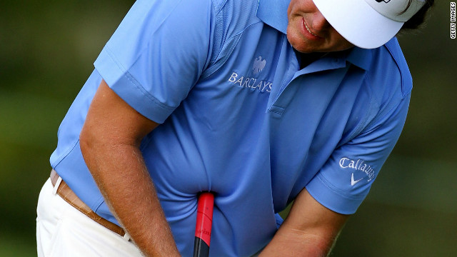 "American star Phil Mickelson briefly used a ""belly"" putter on the PGA Tour but abandoned the idea after mixed results."