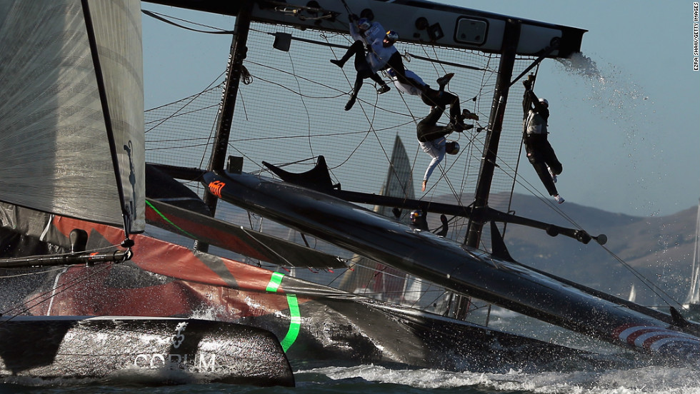 The Oracle Team USA flips over during a fleet race in the America's Cup World Series on October 6 in San Francisco.