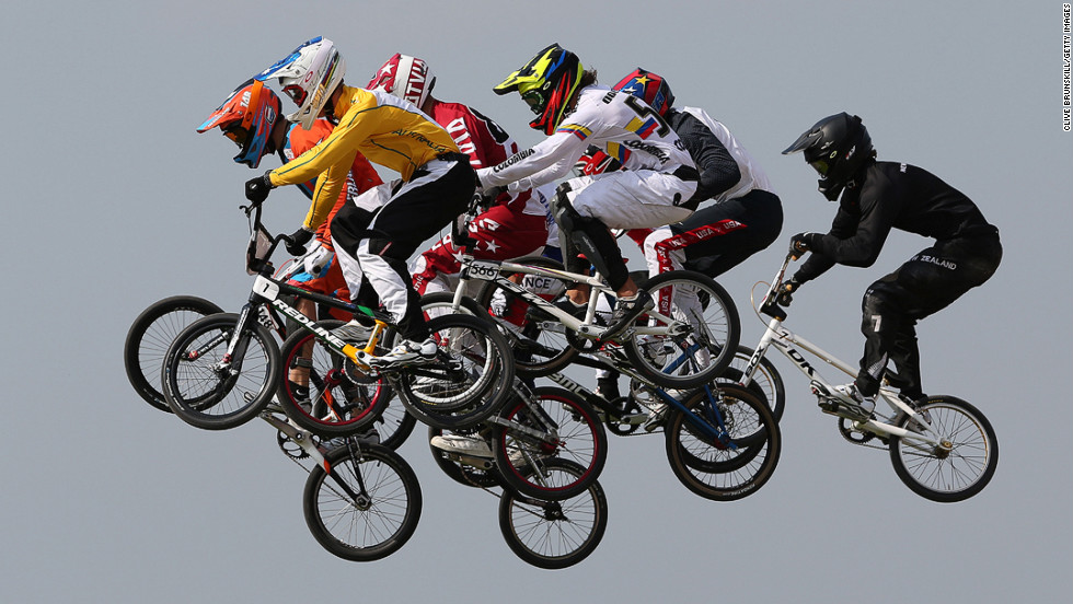 Riders take a jump in the men's BMX cycling semifinals on Day 14 of the London 2012 Olympic Games on August 10.