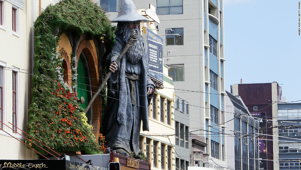 "A giant statue of ""Gandalf"" looms over Wellington's Embassy Theater, as it prepares to welcome the cast of ""The Hobbit"" for the world premiere."