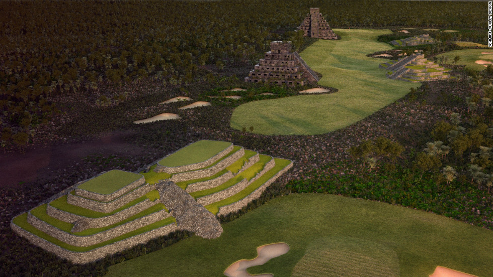 A par 5 on the new course is dedicated to the ancient Mayan civilization, but golfers will have their work cut out if they stray off the fairway.