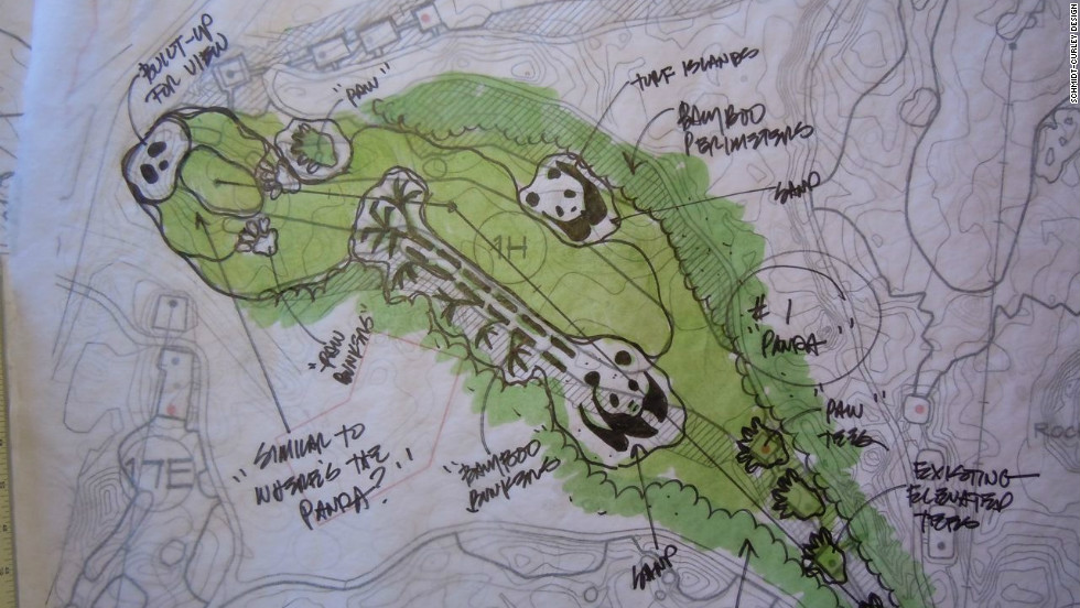One of the holes is dedicated to the most popular animal in China, the giant panda, and this sketch illustrates the design features.