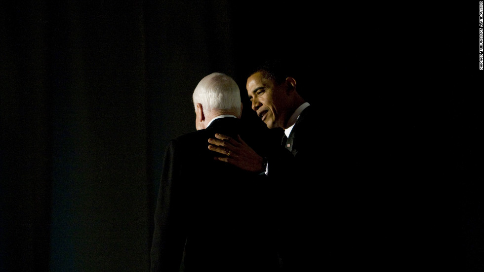 President-elect Barack Obama appeared with his former rival at a bipartisan dinner honoring Sen. John McCain on January 19, 2009, the eve of Obama's inauguration.