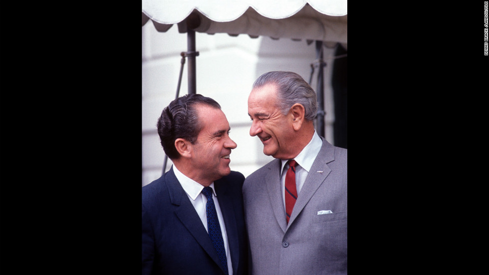 President Lyndon Johnson meets with President-elect Richard Nixon at the White House in November 1968. Nixon had defeated Democrat Hubert Humphrey after Johnson decided against seeking re-election.