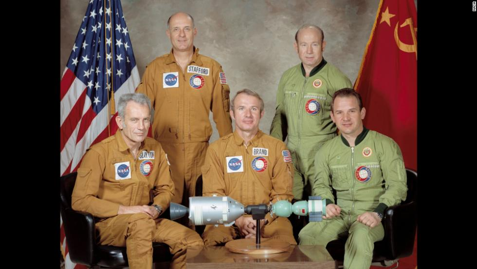 On July 15, 1975, Cold War adversaries temporarily broke the thaw when the United States and the Soviet Union embarked on their first joint space mission. Russia's Soyuz craft launched seven hours before the U.S. Apollo craft, and the two vehicles linked up 52 hours after Soyuz lifted off. Here, the two crews pose for a portrait.