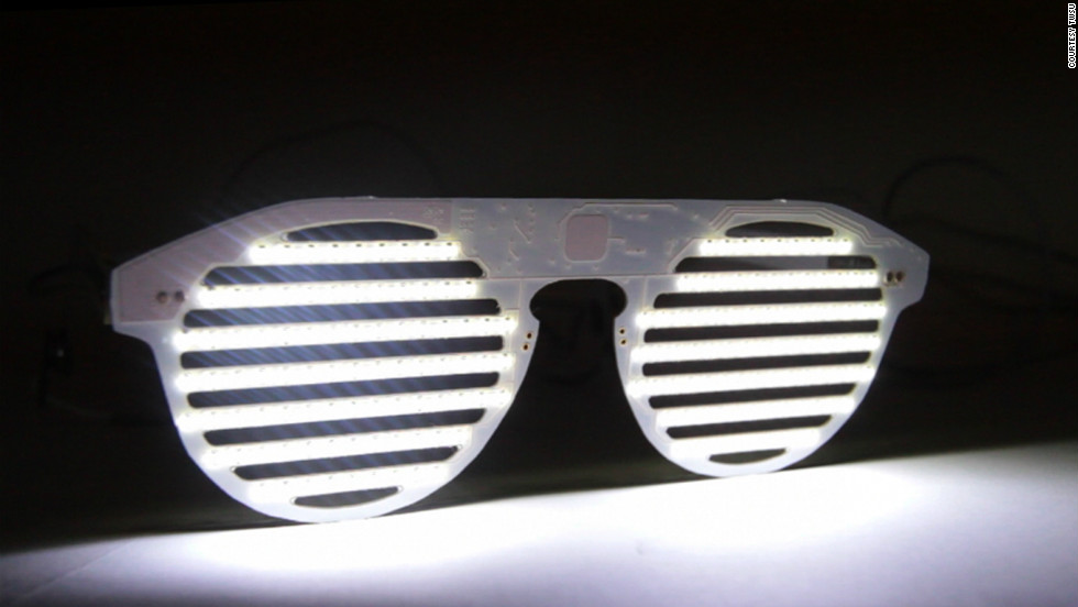 Constructed entirely from circuit board and lined with 175 LEDs, the Bright Eyes sunglasses kit is designed not only as a must-have music-fest fashion accessory, but an introduction into the art of computer coding.