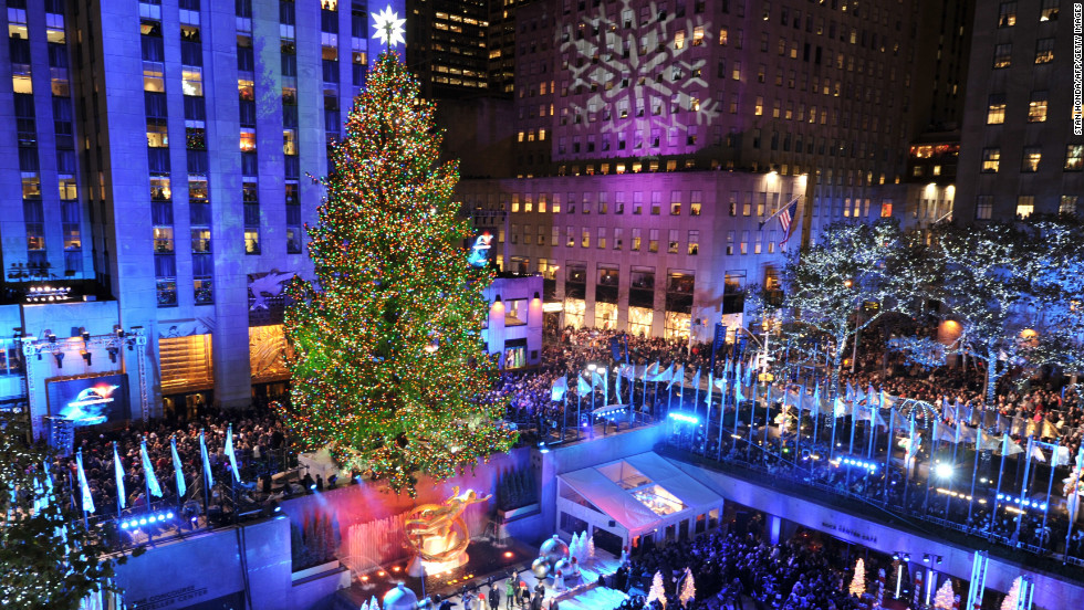 The Rockefeller Center Christmas tree was lit on November 28. The giant tree is a magnet for holiday visitors.