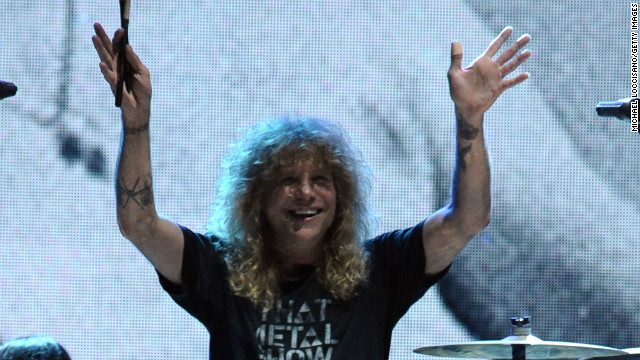 Steven Adler of Guns N' Roses on stage during the 27th Annual Rock And Roll Hall Of Fame Induction Ceremony on April 14, 2012 in Cleveland, Ohio.