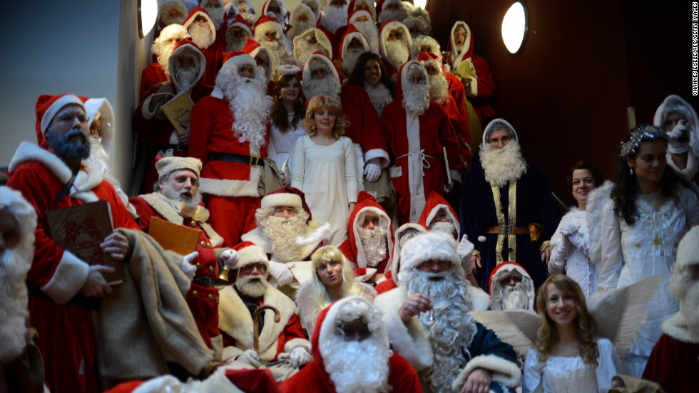 Angels and Santa Clauses gather for the annual meeting on December 1 in Berlin.