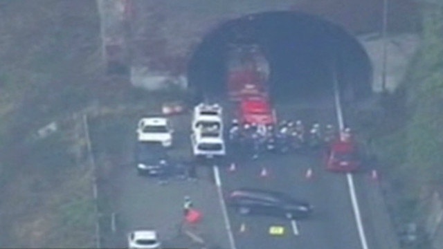 Cars trapped in tunnel collapse
