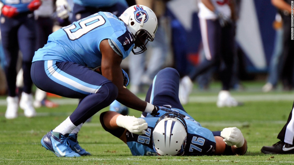 David Stewart of the Tennessee Titans lies injured on the field on Sunday.