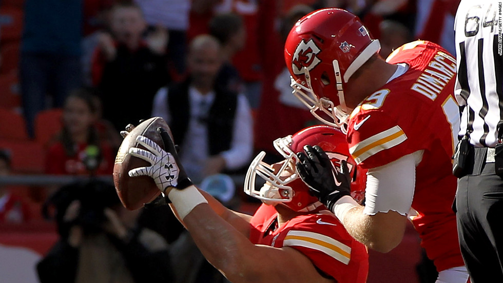 Running back Peyton Hillis of the Kansas City Chiefs celebrates after scoring a touchdown against the Carolina Panthers on Sunday.