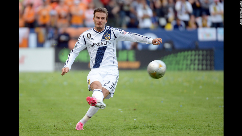 Beckham has a free kick in the second half.