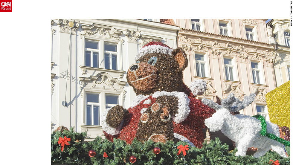 "<a href=""http://ireport.cnn.com/people/pogomcl"">Mary Legg</a> shot this image of the elaborate Christmas decorations in the Old Town area of her adopted home city, Prague. ""All kinds of scrumptious fast foods are to be had from freshly roasted meat over open spits to mulled wine and the ever great Czech beer,"" she said."