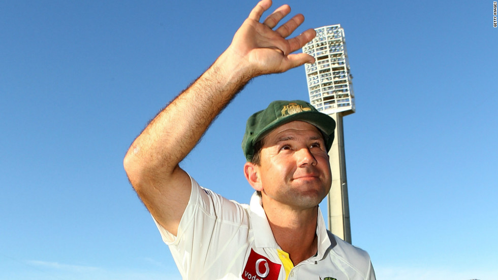 Ricky Ponting is carried from the field by David Warner, left, and Michael Clarke, his successor as Australia captain, after his 168th and final Test match.