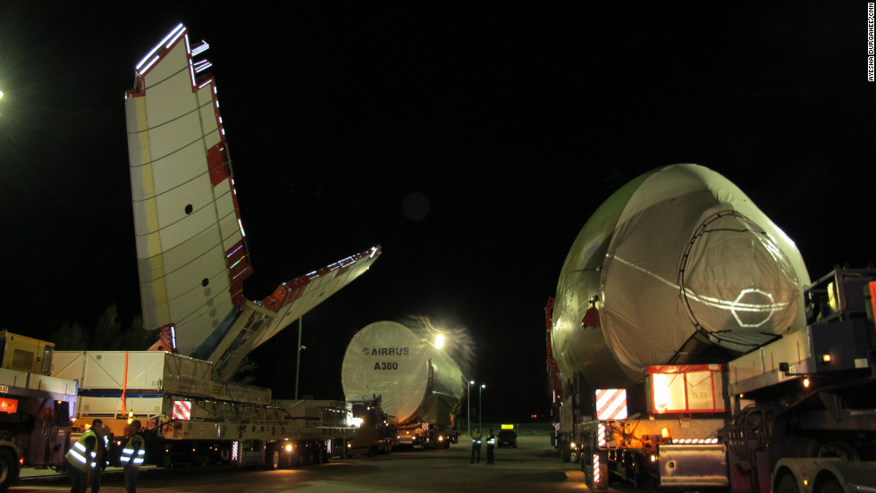 The aircraft's wingspan, fuselage and tail-plane are manufactured at different sites across Europe but are so large they can't be flown to the final assembly line in Toulouse. This has forced Airbus to create a whole new method to move them via land, river and sea.