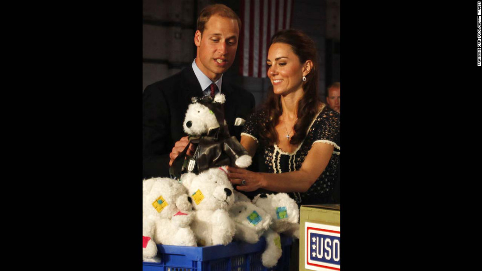 Prince William and Catherine help pack care packages for military children at the Mission Serve: Hiring Our Heroes event on July 10, 2011, in Culver City, California.