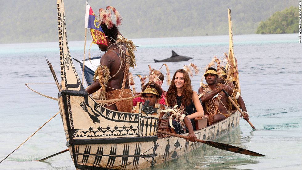 <strong>September 17:</strong> Catherine, Duchess of Cambridge, and Prince William, Duke of Cambridge, travel in a traditional canoe during a visit to Tavanipupu Island on their Diamond Jubilee tour of the Far East.