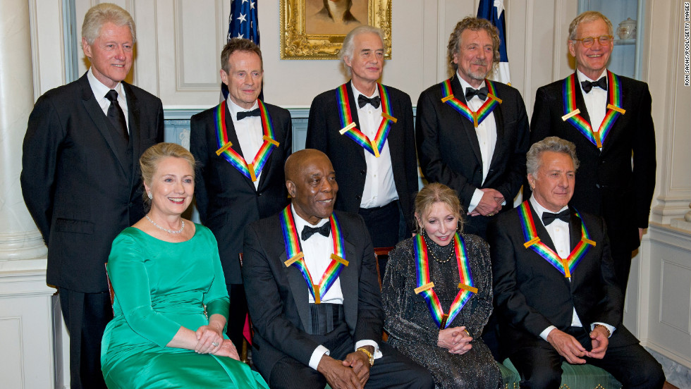 The Clintons honor the recipients at a State Department dinner Saturday. Back row, from left, former U.S. President Bill Clinton, Led Zeppelin's John Paul Jones, Jimmy Page and Robert Plant, and David Letterman. Front row, Hillary Clinton, Buddy Guy, Natalia Makarova and Dustin Hoffman.
