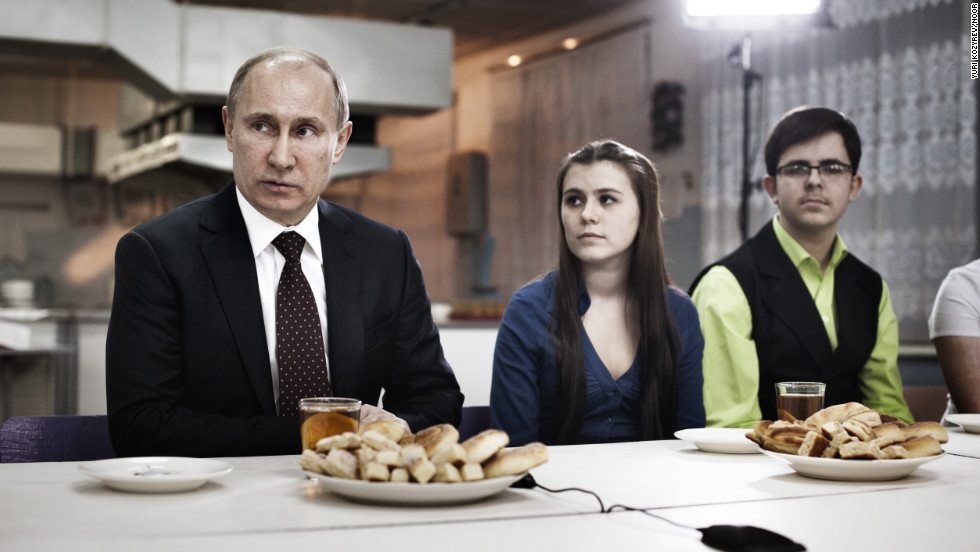 <strong>February 13: </strong>Prime Minister Vladimir Putin meets with a group of parents, teachers and students in Kurgan, a factory town at the southern end of the Ural Mountains. Putin won a third term as Russia's president on March 4.