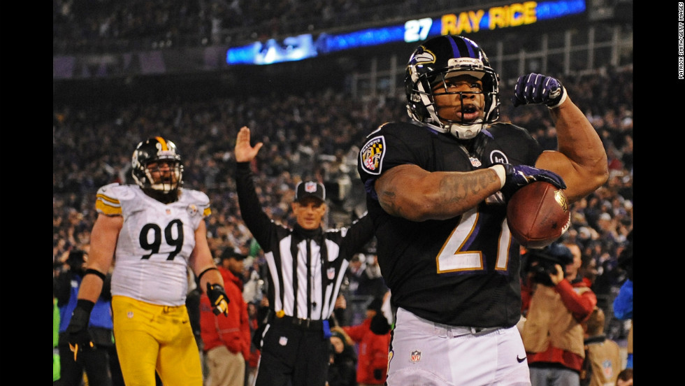 Running back Ray Rice of the Baltimore Ravens celebrates a third quarter touchdown against the Pittsburgh Steelers on Sunday at M&T Bank Stadium in Baltimore.