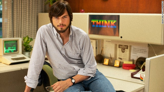"Ashton Kutcher portrays the late Steve Jobs in the film ""Jobs."""