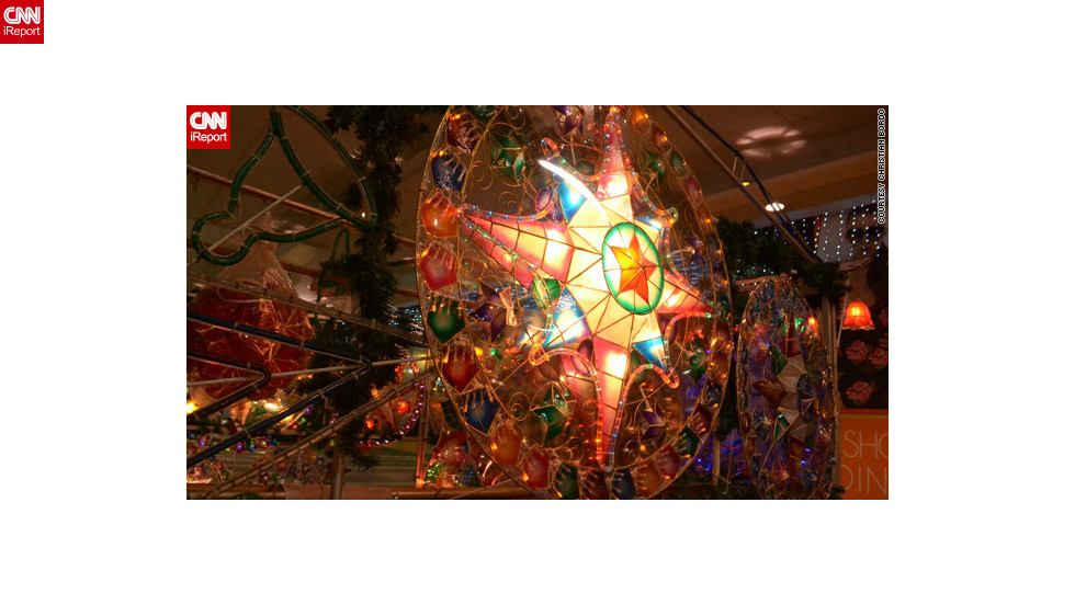 "Christmas lanterns known as 'parols' light up many a Filipino mall, home or street, as seen in <a href=""http://ireport.cnn.com/docs/DOC-887174"">this image</a> by Christian Bordo. They were created in 1928 by an artisan to help villagers find their way to churches to pray."