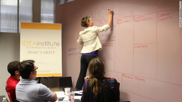 Entrepreneurs work on business plans at IDEAinstitute, a weekly forum that helps sustain New Orleans' entrepreneurs.