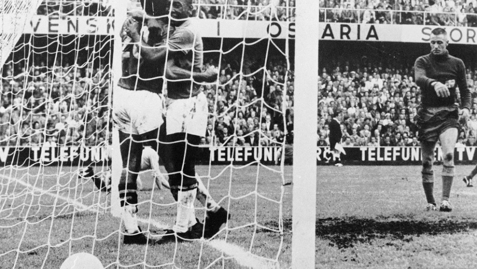 During his time in Brazil with Sao Paulo between 1957 and 1958, Guttmann introduced the 4-2-4 system which Brazil used at the 1958 World Cup. Pele is pictured here celebrating after scoring in Brazil's 5-2 World Cup final win over Sweden in Stockholm.