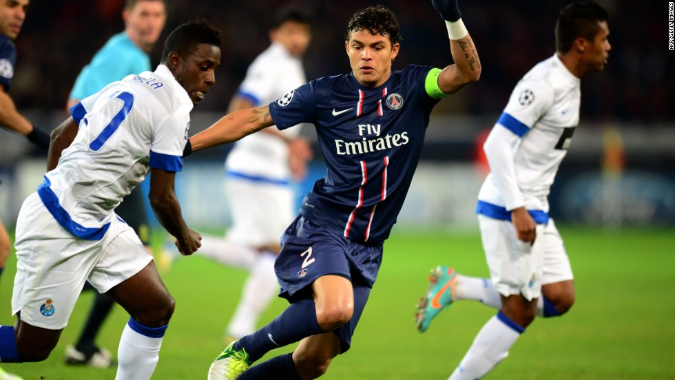 Paris Saint-Germain star Thiago Silva played a key role in his side's 2-1 win over Porto. The Brazil defender fired his team ahead after 29 minutes before Jackson Martinez equalized for Porto. Ezequiel Lavezzi's 61st minute strike ensured victory for the French.