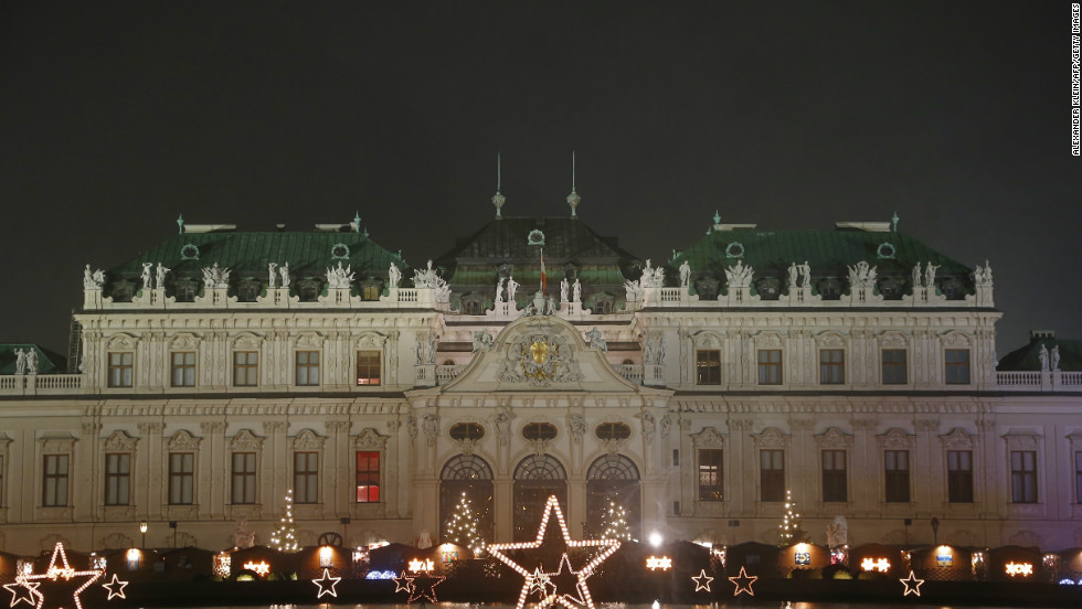 A  relatively understated series of Christmas lights in front of the Belvedere Palace in Vienna.