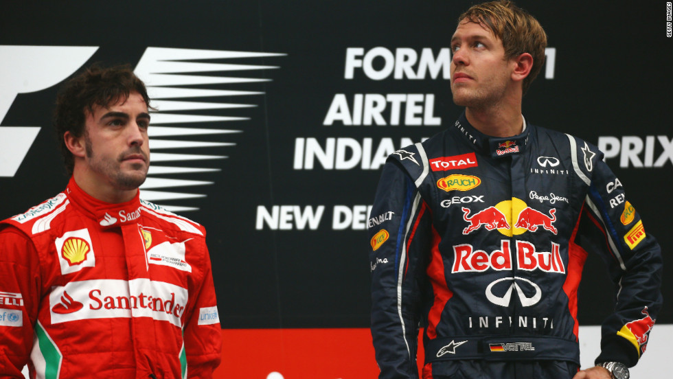 "Fernando Alonso, left, has now twice been beaten to the F1 championship by Sebastian Vettel -- who is widely rumored to be his teammate at Ferrari come 2014. ""When you get two No. 1 drivers together with no team rules, then the sparks can really fly,"" Tu says. ""It's rare for them to be good mates. They may get along, they may trust and respect each other in a professional capacity, but hanging out is a different issue."""
